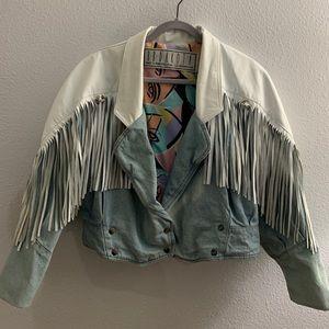 Vintage denim and leather jacket with fringe
